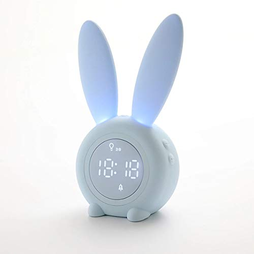 Bunny Kids Alarm Clock, Night Light Alarm Clock with 6 Groups of Ringtone, Touch Control and Digital Thermometer, Sleep Timer with 2000mAh Rechargeable Clocks for kids room,Blue