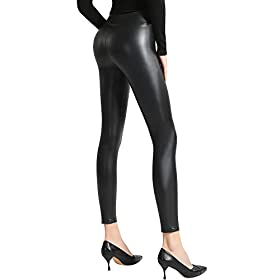 Ginasy Women's Faux Leather Leggings,Sexy Black High Waisted Pants (XL, Matte Black)