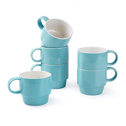 Mugaholics Stackable Coffee Mug Set - 9 oz Ceramic Coffee Mugs for Latte, Espresso, Cappuccino, Cocoa and Tea, Set of 6, Turquoise