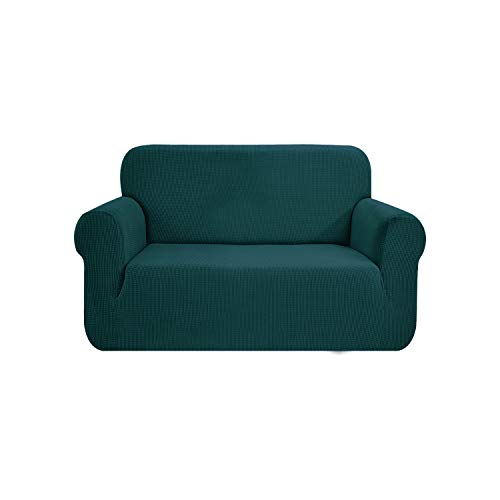 SAMSTEX Stylish Sofa Cover Stretch 1-Piece Sofa Slipcovers High Stretch Sofa Covers 2 Seater Thick Soft Loveseat Sofa Protector Machine Washable Non Slip Couch Covers(2 Seater, Teal)