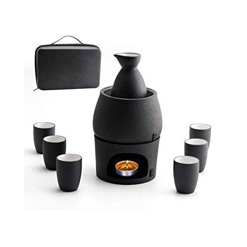 Juego de 9 Piezas de Sake de cerámica Japonesa con Cuenco de Calentamiento y Estufa de Vela, Taza de Vino de cerámica Negra Hecha a Mano, Botella y Tazas de Sake de cerámica, Ideal para Sake