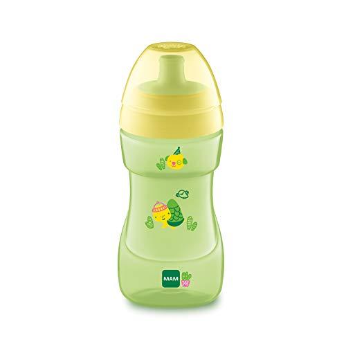 MAM Sports Cup (330 ml), auslaufsicherer Baby Trinkbecher mit selbstöffnendem Ventil, Kinder Trinkbecher mit rutschfester Greiffläche, ab 12+Monaten, Naturmotive, gelb