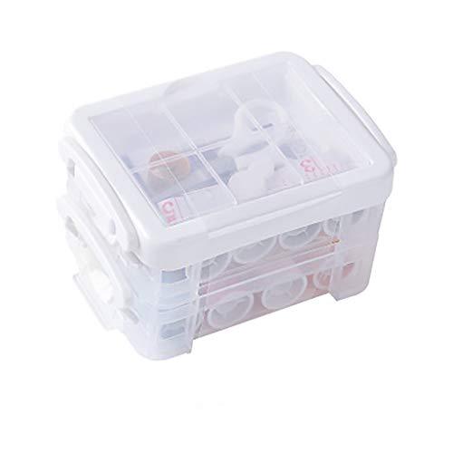 FENSIN Nähkasten-Set, Dornrost-Nähset Nadel und Faden Handmaßband Schere Tragbares Multifunktions-Nähkasten-Set für den Haushalt - Weiß