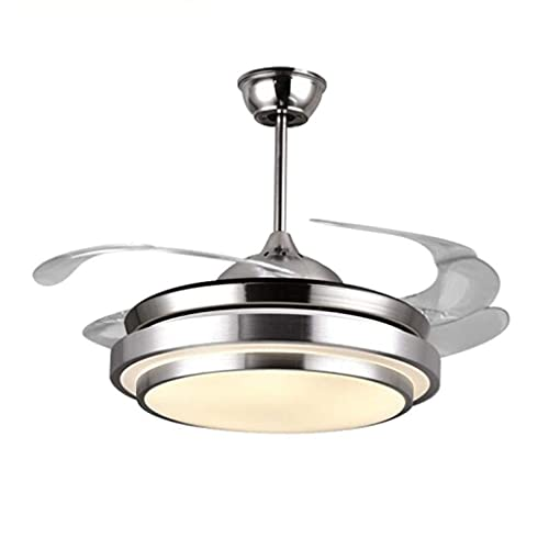 Ventilador de Techo con Luz de 42 Pulgadas Control Remoto Hojas Invisibles para Sala de Estar Dormitorio Restaurante Plata Motor Silencioso