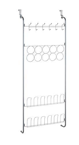 WENKO Tür-Regal, Hänge-Regal für Kleidung und Schuhe, zum Einhängen an die Tür, 49,5 x 109 x 14 cm, pulverbeschichtetes Metall