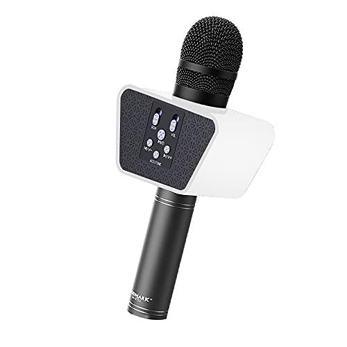 LANDMARK BT55 Handheld Wireless Singing Mic Multi-function Bluetooth Karaoke Microphone with Inbuilt Bluetooth Speaker, Recorder For Smart Phones, Laptop, Tablet - Black