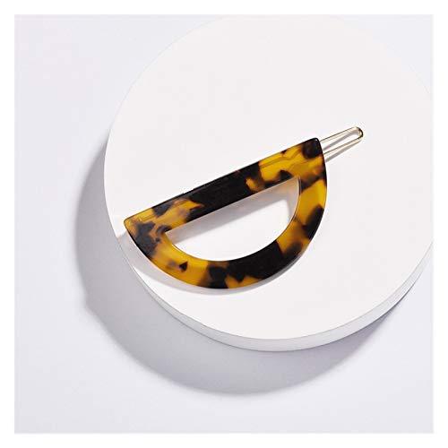 YSHSPED Haarnadeln Mode Acryl Halbkreis Schildpatt-Haarspange for Frauen Mädchen Geometrische Bunte Accessoires Spange (Metal Color : Tortoiseshell)