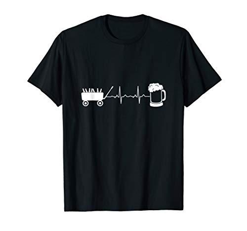 Herren Vatertag - Bier und Bollerwagen Pulsschlag Shirt für Männer