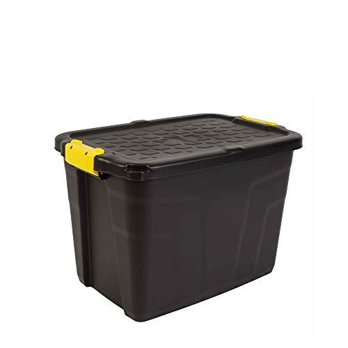 CEP 60 Litres Heavy Duty Strata Storage Box, Black/Yellow, 60 x 40 x 40