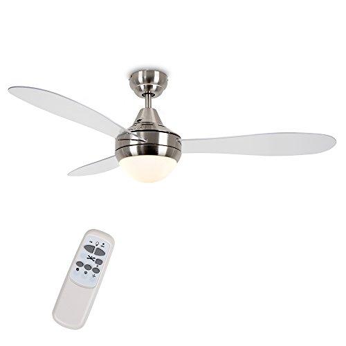 MiniSun – Deckenventilator mit Leuchte und Fernbedienung, Chrom/Klar, 3-flügelig, 122 cm – Deckenventilator mit Beleuchtung – Deckenventilator mit Licht [Energieklasse A++]