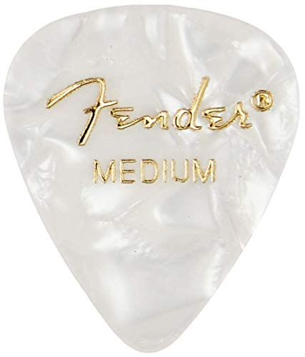 Fender 351 Shape Medium Classic Celluloid Picks, 12-Pack, White Moto for electric guitar, acoustic guitar, mandolin, and bass