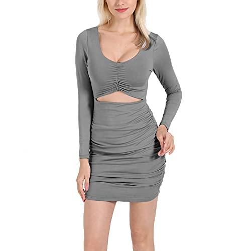 Glosun Vestido sexy ahuecado para mujer color sólido manga larga fruncido bodycon mini vestido fiesta Clubwear, gris, XL