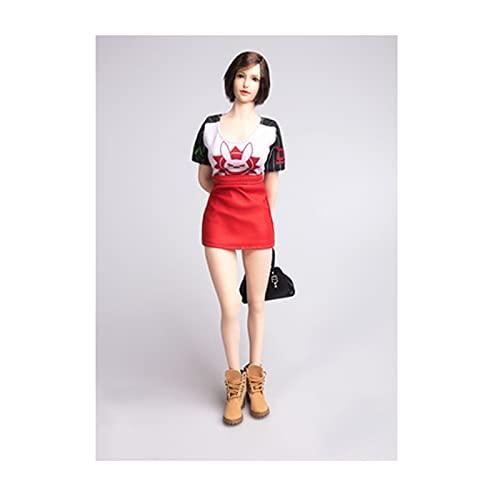 QQAA 1/6 Escala Hecho A Mano Figura Figura Traje Figura Doll Vestidos Disfraz de Muñeca para 12 Figura Muñeca Muñeca Falda de Cuero para Muñecas, Cuidadosamente Elabor Red-A