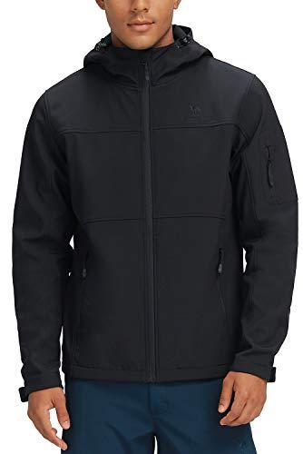 CAMEL CROWN Men's Softshell Jacket Water Resistant Windproof Fleece Lined Hooded Outdoor Full Zip Jacket Black XL