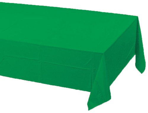 Creative Converting Touch of Color Plastic Lined Table Cover, 54 by 108-Inch, Emerald Green