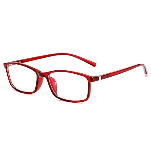 Rongchy Kurzsichtige Brille Gutes Preis-Leistungs-Verhältnis Stilvolle Distanzbrillen Männer und Frauen Kurzsichtige Myopiebrillen Rot -4,00 Stärke ** Dies sind keine Lesebrillen **