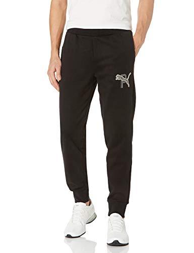 PUMA Men's Athletics Pants Fleece, Black, L