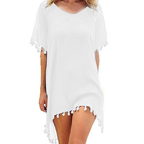 Voqeen Damen Strandkleid Kaftan Quaste Sommerkleid Bikini Cover Up Sommer Bademode Longshirt Tunika Sommer Strandponcho Strand