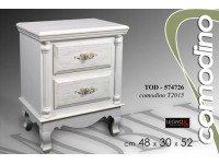 Gicos Comodino 2 Cassetti Bianco in Legno Shabby Chic 43x30xh52 Cm