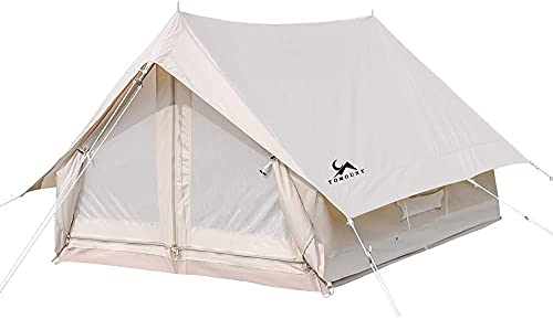 TOMOUNT ポリコットンテント TCテント ハウステント キャンプテント 1~2人用/ 3~4人用 ソロ ファミリーテント 簡単設営 アウトドアテント 遮熱 耐火 防蚊虫 4シーズン 収納袋付く