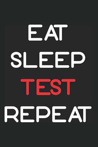 Coding- Notizbuch 120 Seiten 15x22cm Karriert: Eat Sleep Test Repeat Perfekt für Notizen, Tagebuch, Tagesplaner und ToDo Listen für Arbeit, Studium oder Schule