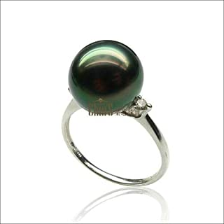 NameStore(TM) 10-11mm AAA Platinum Real Green Tahitian Sea Cultured Pearl Diamond Ring SZ 5.5