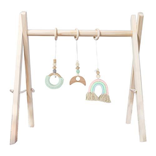 WEUITEE - Juego de gimnasio para bebés, diseño nórdico de madera para fitness, juego de colgantes para niños, decoración de habitación para bebés, juguetes sensoriales para bebés