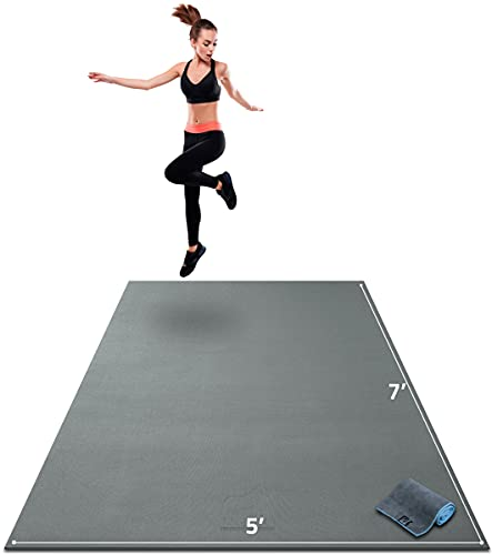 """Gorilla Mats Premium Large Exercise Mat – 7' x 5' x 1/4"""" Ultra Durable, Non-Slip, Workout Mat for Instant Home Gym Flooring – Works Great on Any Floor Type or Carpet – Use with or Without Shoes"""