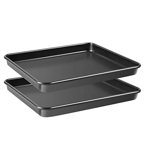 Grandwish 2-Stück Ofenblech mit Antihaft-Beschichtung - Rechteckiges Backblech - Ofenblech rechteckig - 325 x 270 x 32 (Schwarz)