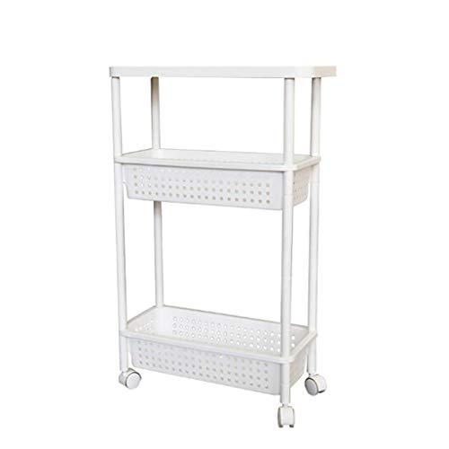 Lw Shelf Cochecito móvil de plástico acolchado estante de almacenamiento para baño, cocina, 3 pisos, estante de almacenamiento con costuras estrechas, color blanco