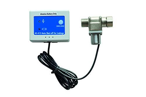 Wassermelder mit Abschaltung, automatisches Magnet-Absperrventil 3/8 Zoll, schließt sofort bei Wasserkontakt die Wasserleitung, schützt vor Wasserschäden, schnelle Installation