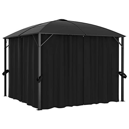 Tidyard Gazebo with Curtains Waterproof and Anti-UV Sunshade Shelter for Outdoor Picnic Dinners BBQs 300x300x265 cm Anthracite