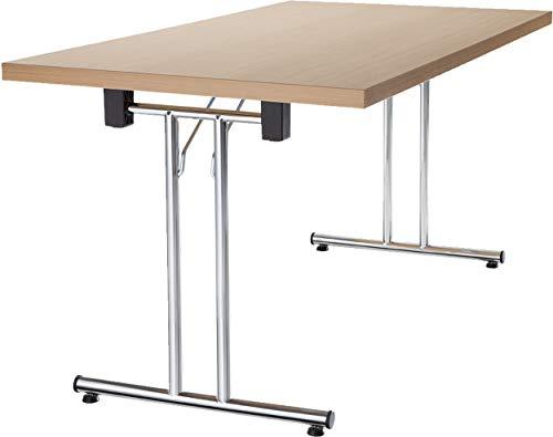 bümö® Klapptisch stapelbar aus Holz- Stapeltisch klappbar | massiv mit stabilem Stahlgestell (verchromt) (Buche, 160x80 cm)