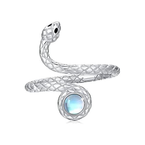 Anillo de serpiente para mujer, Plata de Ley 925, piedra lunar arcoíris, anillo ajustable, piedra lunar, joyería de animales para hombres, niñas y niños