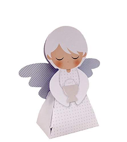 20 PEZZI Portaconfetti a forma di ANGELO CELESTE COMUNIONE bambino scato