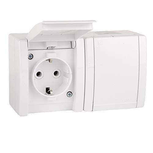 ALING-CONEL 2-fach Aufputz Schutzkontakt Steckdose mit Klappdeckel 16A/250V~ / IP44 - Weiß