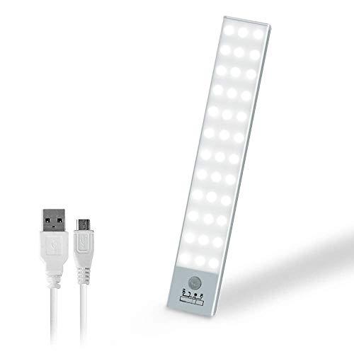 JINGFAN人感センサーライト USB充電式 室内 夜間ライト 36LED 90ルーメン 昼白色 階段ライト 足元ライト クロゼットライト マグネット 廊下 玄関 寝室