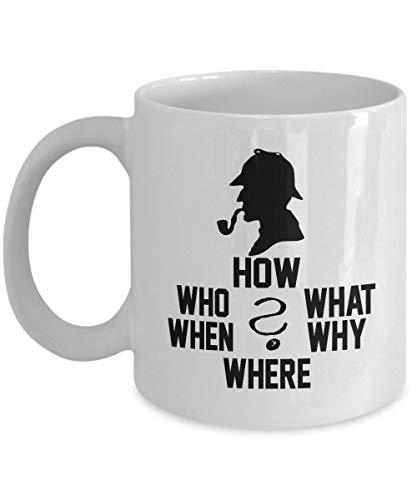 N\A Preguntas Sherlock Holmes - Taza de café Taza de té Regalo Divertido para mamá Papá Papá Acción de Gracias, Gracias, Día de la Madre, Día del Padre, Navidad, Navidad, Abuelo, Abuela