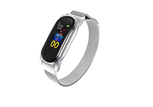 YDL Women Smart Watch Bluetooth SmartWatch Hombres Ritmo Cardíaco Monitor De Presión Arterial GPS Running Track Smart Muñequera (Color : Silver)