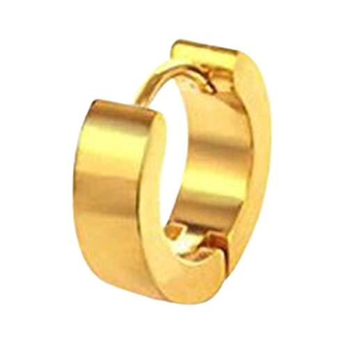Ruby569y Pendientes colgantes para mujeres y niñas, pendientes redondos, seguros y sin decoloración, unisex, de acero inoxidable, para el club de compras, uso diario, dorado, 4 x 9 mm