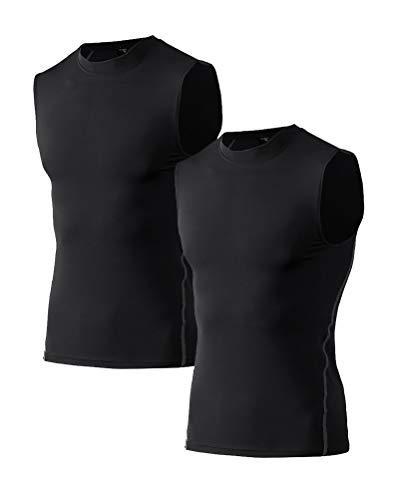 DaobaMEN PRO Magliette a Compressione per Uomo Quick Dry 2 Pack Canotte T Shirt Canotta da Running da Uomo per Allenamento, Basket, Palestra
