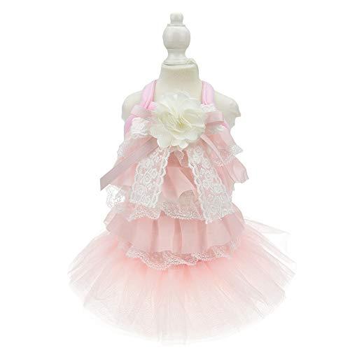 MuYaoPet Luxuriöses Hunde-Prinzessinnen-Brautkleid für Katzen, Tutu-Rock, Partykleid, Sommer-Welpen-Shirt, Kleidung für Yorkshire Terrier, Größe L, Rosa