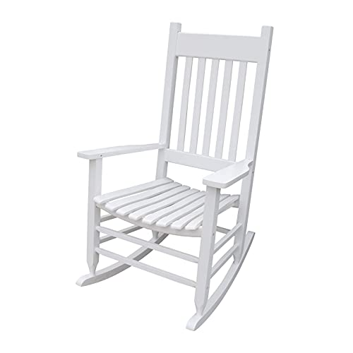 único digno para balcón y Porche, Mecedora Mecedora de Madera abundante con reposabrazos para Porche Sillón reclinable Suave y Relajante (Color: Blanco)