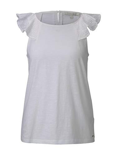 TOM TAILOR Denim Shiffli Volant Camiseta, 10332 Off White, S para Mujer