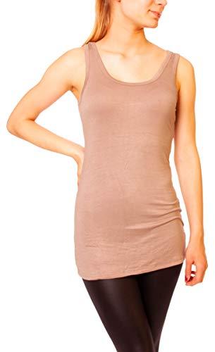 Easy Young Fashion Damen Basic Tank Top Träger Hemd Longtop Unterhemd Extra Lang Skiny Fit One Size Hellbraun