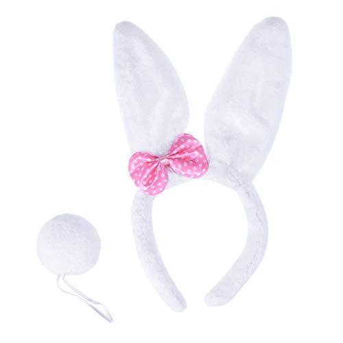 BESTOYARD Hasenohren Stirnband mit Schwanz Kaninchen Ohr Stirnband Tier Stirnbänder Party Kostüm Gastgeschenk (Weiß)