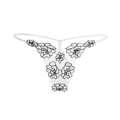 Sexy Low Rise String Borduurwerk Rose Thong Transparant T Broek Vrouwen Lingerie Ondergoed,F 6 pieces