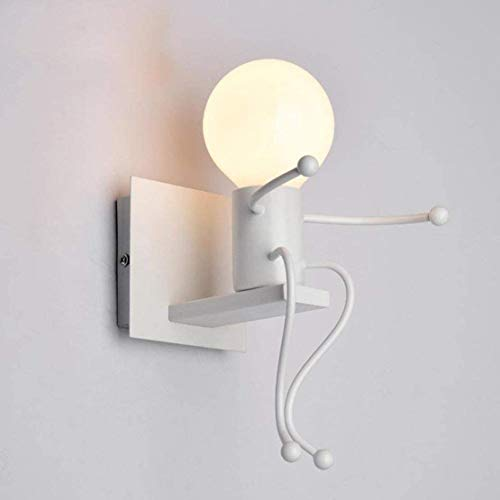 MC Creatives - Aplique de pared retro de hierro vintage, lámpara de pared moderna individual de metal, lámpara para bar, dormitorio, cocina, restaurante, cafetería, pasillo E27 (blanco)