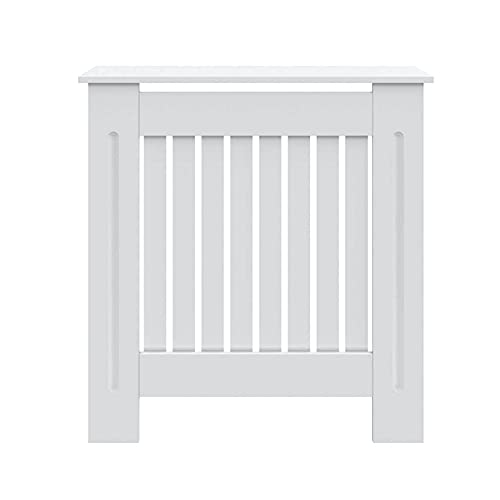 Radiator Cover Small Medium Large Modern MDF Wood White Vertical Slat Cabinet Home Living Room Bedroom Furniture Heating Cabinet (Small)
