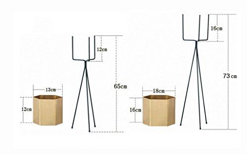 ZHDC® Porte-fleurs, fer Nordic Simple Balcon intérieur Balcon Polygon Floor Style Triangle Étagère à fleurs Porte-pot à fleurs Ensemble complet Stable fort espace de sauvegarde ( Couleur : Or )